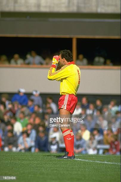 Liverpool goalkeeper Bruce Grobbelaar shades his eyes during a Canon League Division One match against Newcastle United at St James'' Park in...