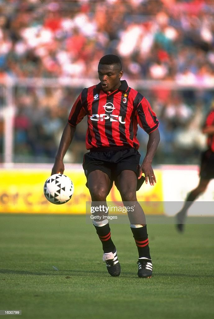 marcel desailly of ac milan in action during a serie a match against photo d 39 actualit. Black Bedroom Furniture Sets. Home Design Ideas