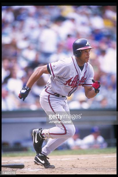 Outfielder David Justice of the Atlanta Braves in action during a game against the Chicago Cubs at Wrigley Field in Chicago Illinois The Cubs won the...