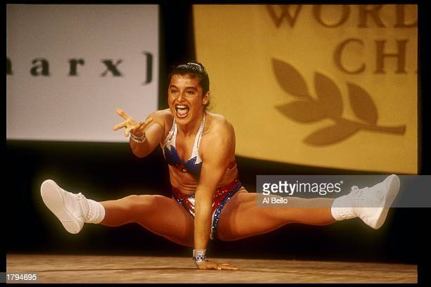 Paola Minutolo of Argentina performs during the World Aerobic Championships Mandatory Credit Al Bello /Allsport