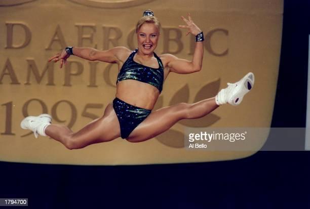 Patsy Tierney of Australia performs during the World Aerobic Championships Mandatory Credit Al Bello /Allsport