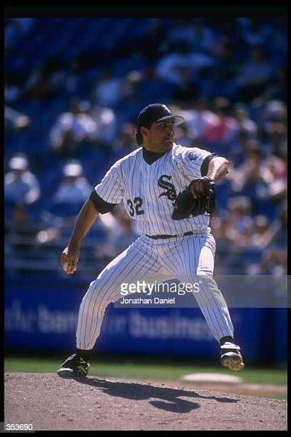 Pitcher Alex Fernandez of the Chicago White Sox throws the ball during a game against the Detroit Tigers at Comiskey Park in Chicago Illinois The...