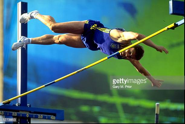 Sergey Bubka of the Ukraine clears the bar in the pole vault qualifying competition during the World Championships at the Ullevi Stadium in...