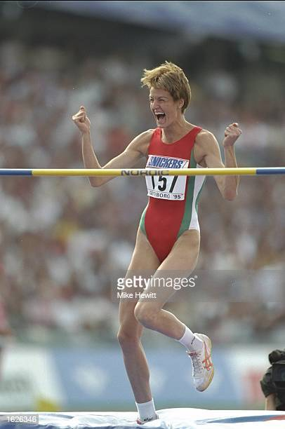 Stefka Kostadinova of Bulgaria celebrates after clearing the bar during the High Jump event at the World Championships at the Ullevi Stadium in...