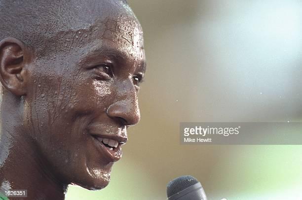 Venuste Niyongabo of Burundi is interviewed afte ra 1500 metres heat at the World Championships at the Ullevi Stadium in Gothenburg, Sweden. \...