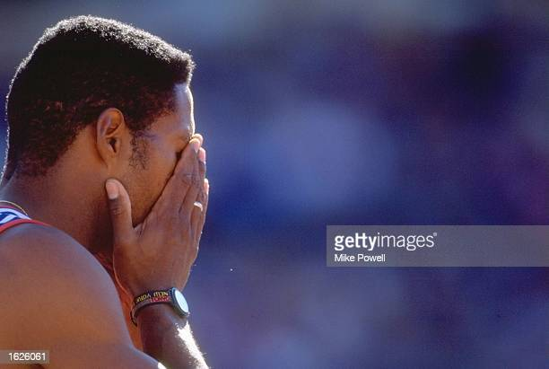 World record holder Javier Sotomayor of Cuba looks dejected during the High Jump event at the World Championships at the Ullevi Stadium in...