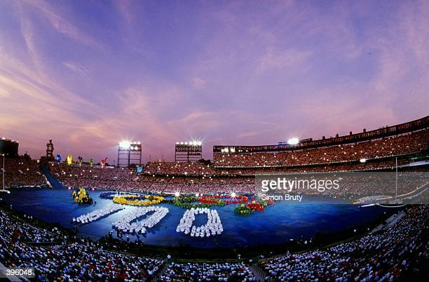 General view of the festivities going on during the Opening Ceremony of the 1996 Olympic Games at the Olympic Stadium in Atlanta, Georgia.