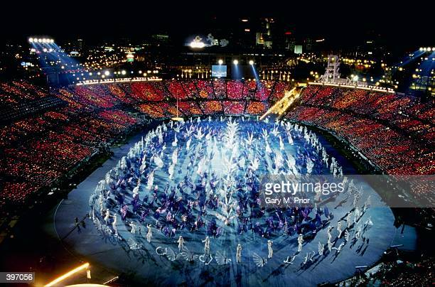 A general view of the festivities going on during the Opening Ceremony of the 1996 Olympic Games at the Olympic Stadium in Atlanta Georgia