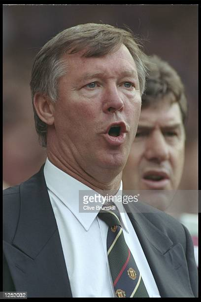 A portrait of Alex Ferguson the manager of Manchester United taken during the Premier League match between Manchester United and Blackburn Rovers at...