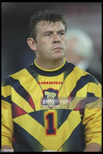 A portrait of Andy Goram of Scotland taken before the start of the world cup qualifier against Austria in Vienna Austria The match ended in a goaless...