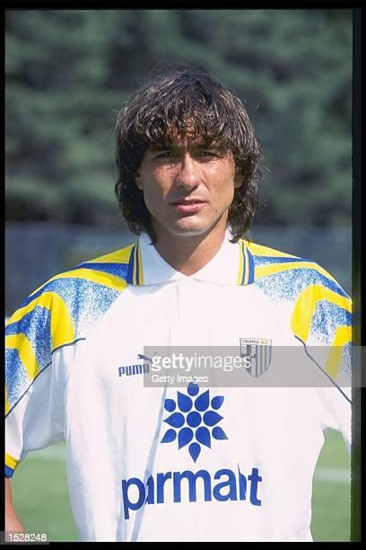 A portrait of Antonio Benarrivo of Parma taken during the club photocall Mandatory Credit Allsport UK