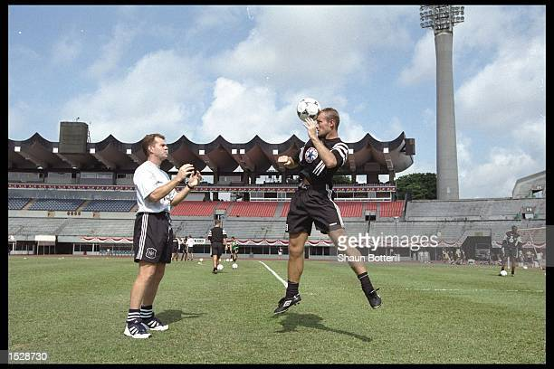 Alan Shearer of Newcastle practices heading the ball during Newcastle's tour of the far east Mandatory Credit Shaun Botterill/Allsport UK