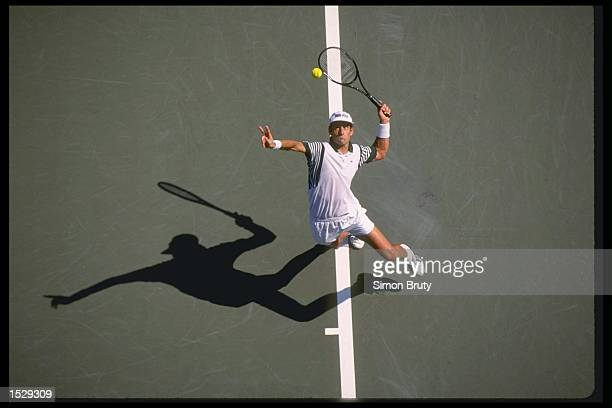 An aerial view of Guy Forget of France serving during the US Open at Flushing Meadow in New York USA Mandatory Credit Simon Bruty/Allsport
