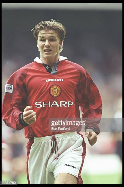 David Beckham of Manchester United in action during the Umbro Cup preseason tournament between Ajax Chelsea Manchester United and Nottingham Forest...