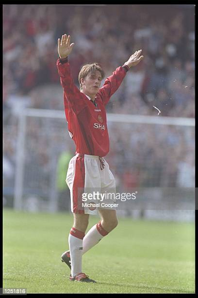 David Beckham of Manchester United in action during the Premier League match between Wimbledon and Manchester United at Selhurst Park in London...