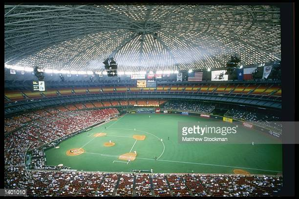 General view of the Houston Astrodome during a game between the Chicago Cubs and the Houston Astros in Houston Texas The Cubs won the game 43