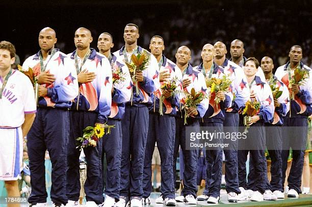 General view of the United States men''s basketball team as they line up before a match against Yugoslavia at the Summer Olympics in the Georgia Dome...