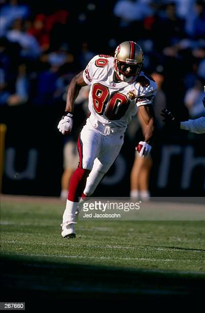 Jerry Rice of the San Francisco 49ers in action during their game against the San Diego Chargers at 3Com Park in San Francisco California Mandatory...