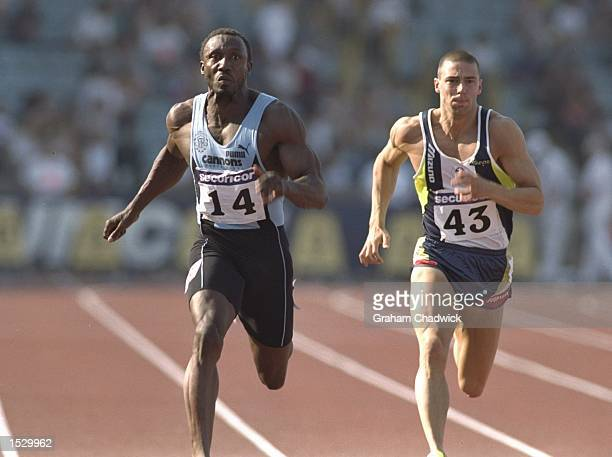 Linford Christie wearing the colours of Thames Valley Harriers beats Ian Mackie of Scotland during the 100 metres at the AAA championships at the...