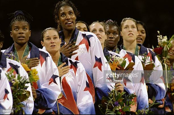 Lisa Leslie of the USA stands as the Anthem is played after winning the Women''s basketball Finals during the 1996 Olympic Games in the Georgia Dome...