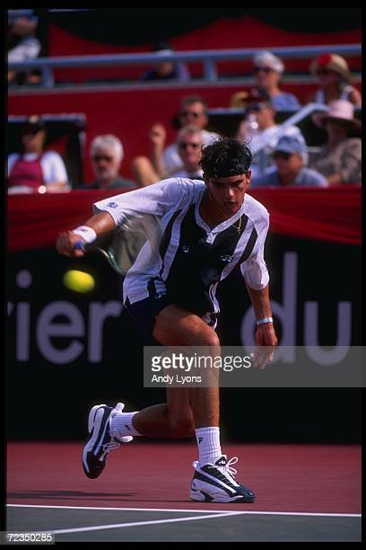 Mark Phillippoussis hits the ball during the Du Maurier Open at York University in Toronto Ontario Mandatory Credit Andy Lyons /Allsport