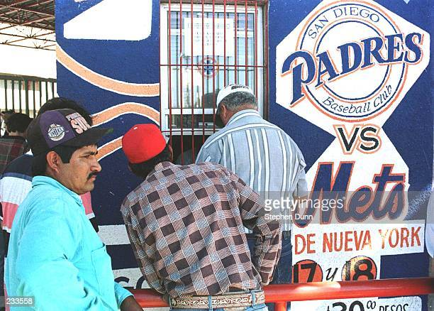 Mexican baseball fans line up to buy tickets outside of Monterrey Stadium for the San Diego Padres versus New York Mets game in Monterrey Mexico...