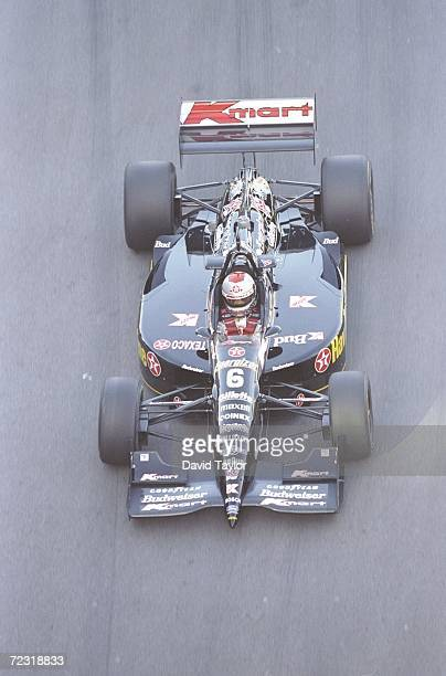 Michael Andretti of the Newman Haas Racing rounds a corner in his Lola Ford 96 during the Molson Indy in Vancouver British Columbia Canada Mandatory...