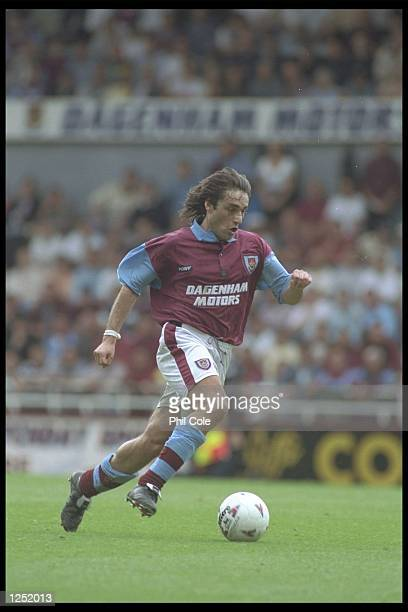 Paulo Futre of West Ham in action during the Premier League match between West Ham and Southampton at Upton Park in London Mandatory Credit Phil...