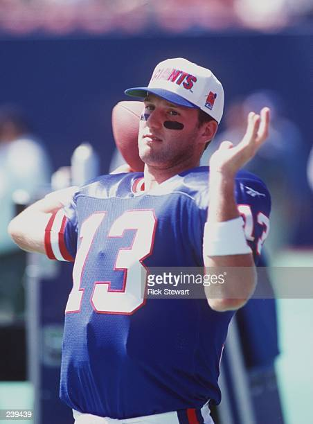 Quarterback Danny Kanell of the New York Giants warmsup prior to the Giants 3727 loss to the Baltimore Ravens at Giants Stadium in East Rutherford...