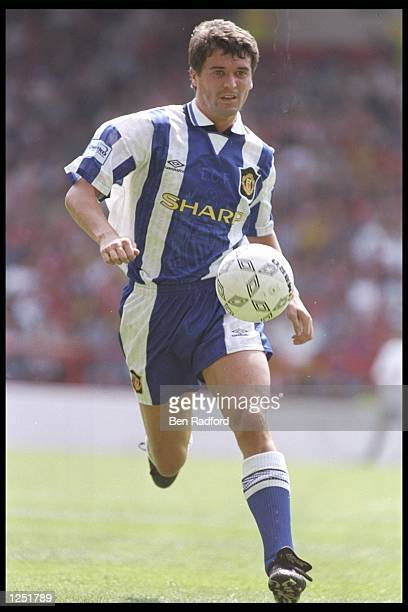 Roy Keane of Manchester United in action during the Umbro Cup pre-season tournament between Ajax, Chelsea, Manchester United and Nottingham Forest at...