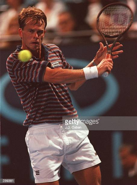 Stefan Edberg of Sweden hits a backhand shot during his victory over Jonathan Stark of the USA at the Infiniti Tennis Open in Los Angeles California...
