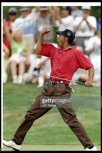 Tiger Woods celebrates after scoring an eagle during the US Amateur Championships at the Pumpkin Ridge Golf Course in Cornelius Oregon