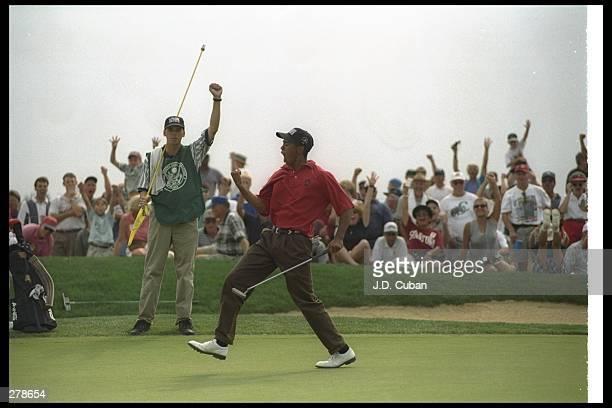 Tiger Woods celebrates during the US Amateur Championships at Pumpkin Ridge Golf Course in Cornelius Oregon