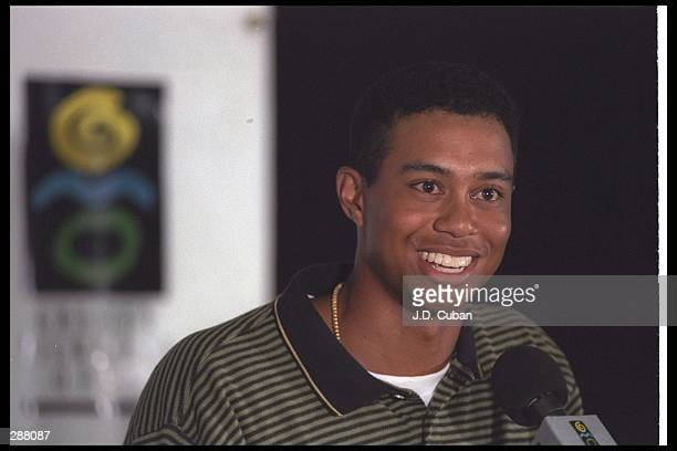 Tiger Woods speaks with charisma to an attentive audience during the Greater Milwaukee Open at the Brown Deer Park Golf Course in Glendale Wisconsin...