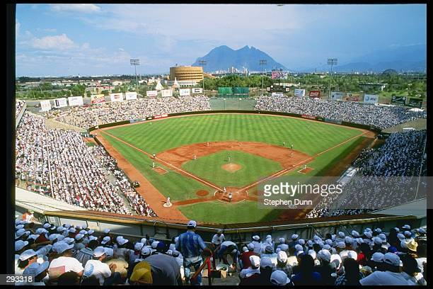 View of a game between the San Diego Padres and the New York Mets at Monterrey Stadium in Monterrery Mexico The Padres won the game 80 Mandatory...