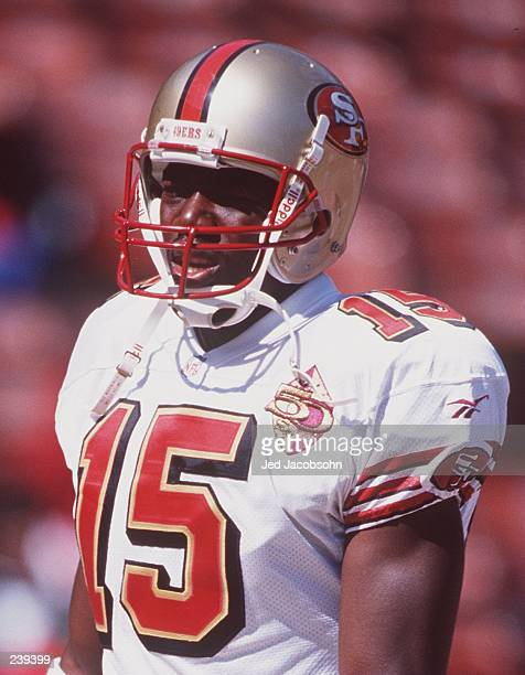 Wide receiver Terrell Owens of the San Francisco 49ers during the 49ers versus San Diego Chargers game at 3Com Park in San Francisco California...