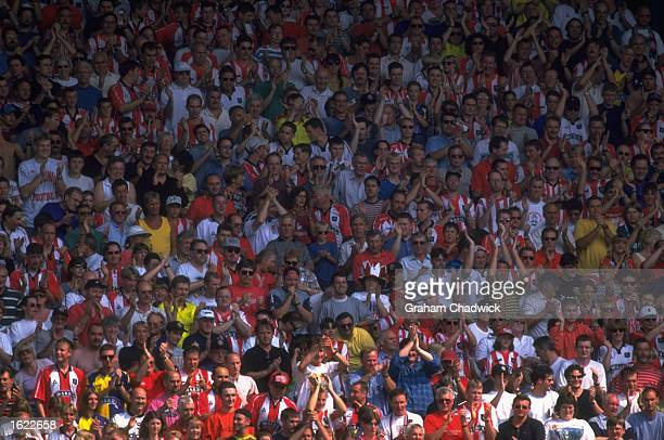 A general view of Sheffield United fans during the Nationwide League Division One match against Sunderland at Bramall Lane in Sheffield England...