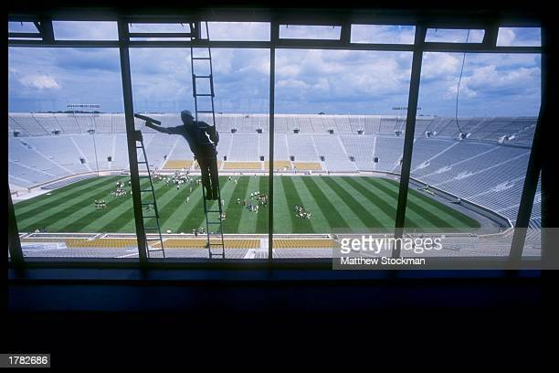 View from inside the press box of newly renovated Notre Dame Stadium during Media Day in South Bend, Indiana. Mandatory Credit: Matthew Stockman...