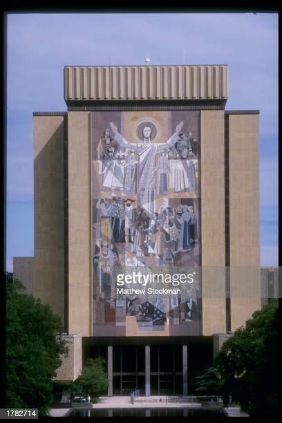 A view of Touchdown Jesus at newly renovated Notre Dame Stadium during Media Day in South Bend Indiana Mandatory Credit Matthew Stockman /Allsport