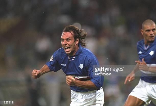 Alain Boghossian of Sampdoria celebrates a goal during the Serie A match against Vicenza at the Luigi Ferrari Stadium in Sampdoria Italy Mandatory...