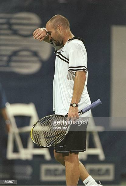 Andre Agassi of the United States takes a break during the RCA Championships at the Indianapolis Tennis Center in Indianapolis Indiana Mandatory...