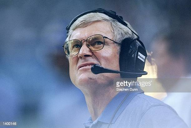 Coach Dick Vermeil of the St. Louis Rams watches his players during a preseason game against Dallas Cowboys at Texas Stadium in Irving, Texas. The...
