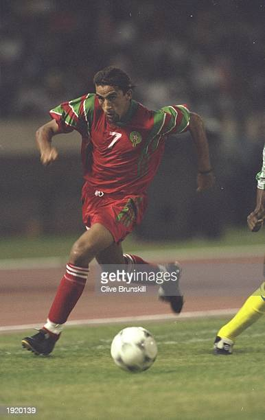 El Moustafa Hadji of Morocco in action during the World Cup qualifying match against Gabon at the Complexe Sportif Mohamme in Casablanca Morocco...