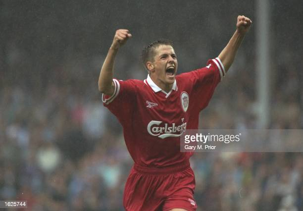 Michael Owen of Liverpool celebrates a goal during the FA Carling Premiership match against B''ackburn Rovers at Ewood Park in Blackburn England...