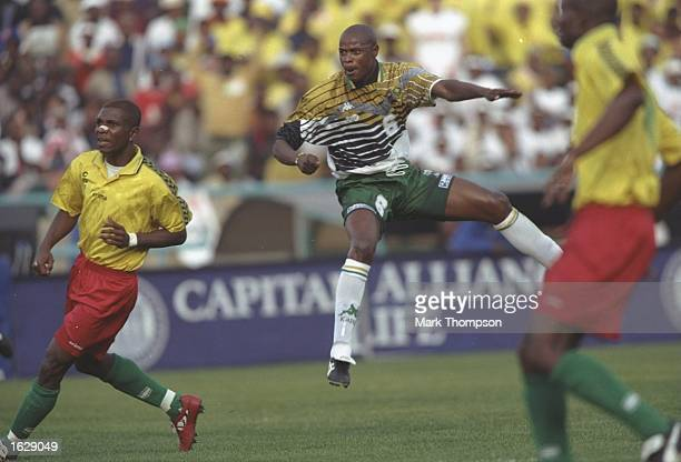 Phil Mesinga of South Africa shoots during the World Cup qualifying match against the Congo Mandatory Credit Mark Thompson/Allsport