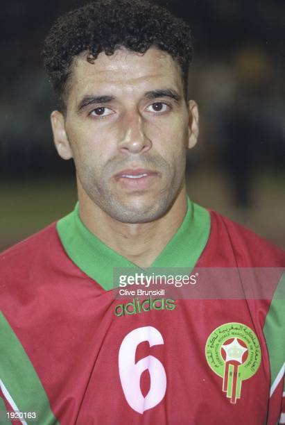 Portrait of Noureddine Naybet of Morocco before the World Cup qualifying match against Gabon at the Complexe Sportif Mohamme in Casablanca Morocco...