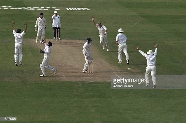 The England captain Michael Atherton is given out by umpire David Shepherd caught behind by Ian Healy off the bowling of Shane Warne for 27 runs in...