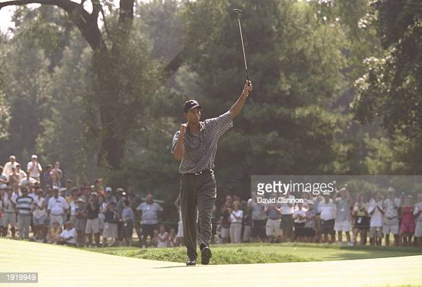 Tiger Woods of the USA celebrates his eagle at the 12th hole during the PGA Championship at the Winged Foot Golf Course in Mamaroneck New York USA...