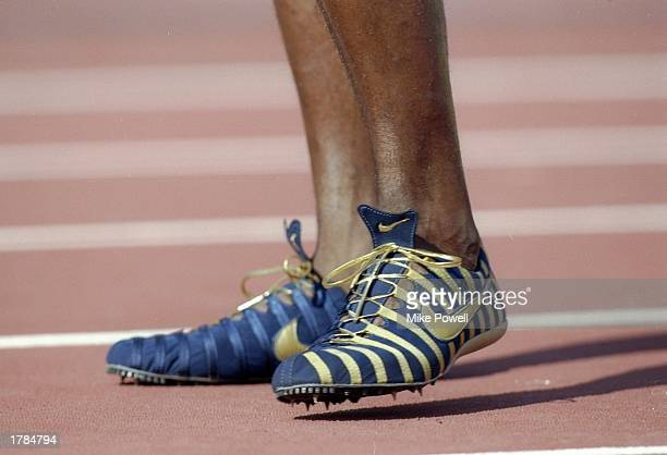 View of the Nike spikes as worn by Michael Johnson of the United States during the World Championships at Olympic Stadium in Athens Greece Mandatory...