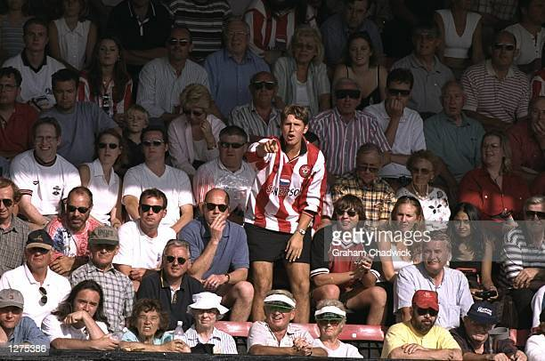 A Southampton fan vents his feelings during the FA Carling Premiership match against Liverpool at the Dell in Southampton England Liverpool won 21...